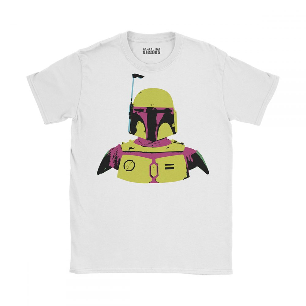 Boba Fett Star Wars Pop Art T Shirt White