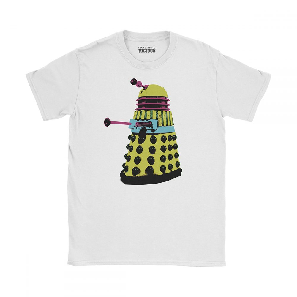 Dalek Dr Who Pop Art T Shirt White
