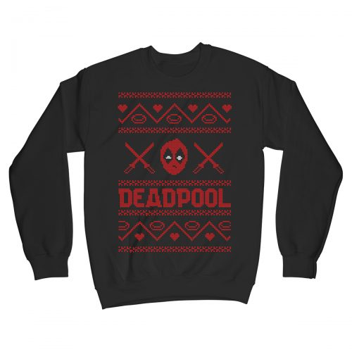 Deadpool Marvel Movie Comic Christmas Jumper Xmas Sweater Black