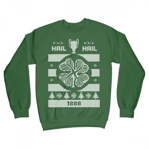 Hail Hail Celtic FC Football Christmas Jumper Xmas Sweater Green