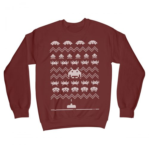 Space Invaders Retro Gaming Christmas Jumper Xmas Sweater Red