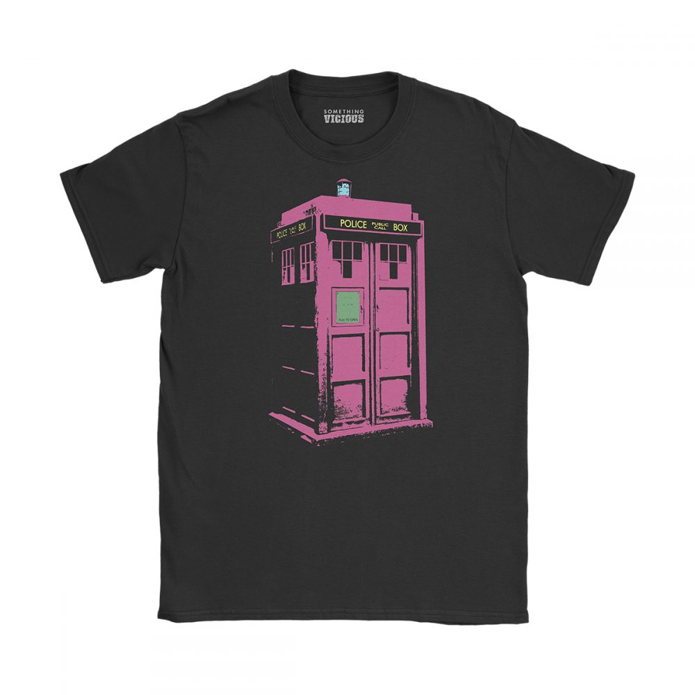 Tardis Dr Who T Shirt Black